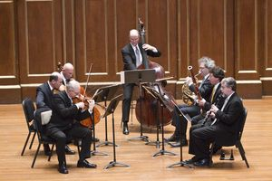 Members of the BSO Chamber Players perform Michael Gandolfi's 'PLain Song, Fantastic Dances' on Sunday afternoon, 3-14-10 (Michael J. Lutch)